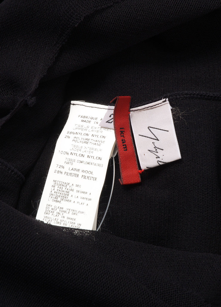 Yohji Yamamoto Black Wool Mesh Long Sleeve Handkerchief Hem Dress Brand