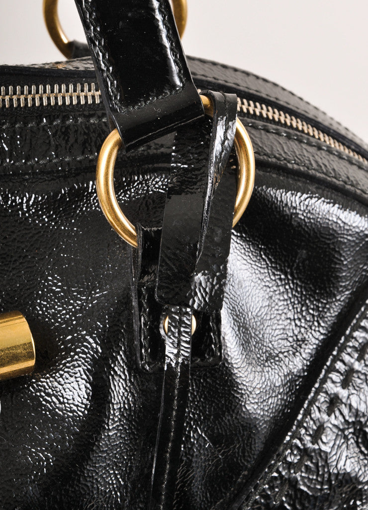 "Yves Saint Laurent Black and Gold Toned Patent Leather Oversized ""Muse"" Bag Detail 2"
