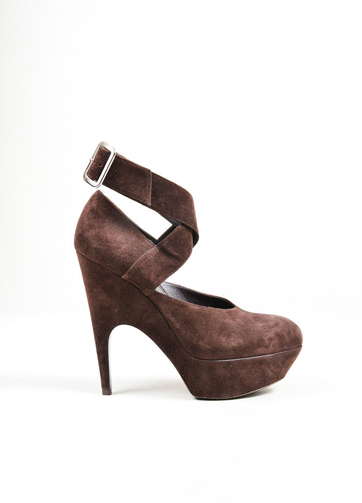 Brown Suede Yves Saint Laurent Ankle Wrap Pumps Side