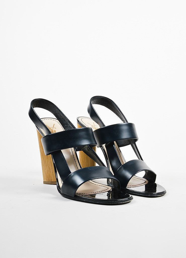 Yves Saint Laurent Rive Gauche Black and Beige Leather and Wood Chunky Sandals Frontview