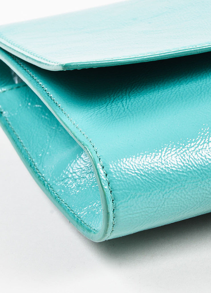 "Yves Saint Laurent Robin's Egg Blue Patent Leather 'YSL' ""Belle Du Jour"" Clutch Bag Detail"
