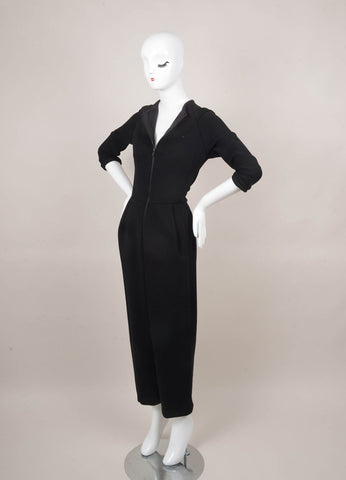 Black Geoffrey Beene Long Sleeve Zip Jumpsuit