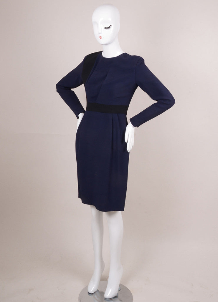 Navy and Black Color Block Pleated Waist Sheath Dress