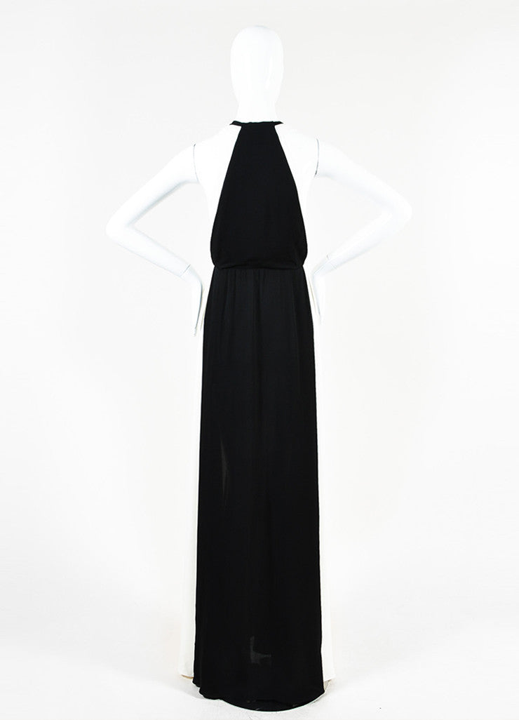 Valentino Black and White Silk Crepe Plunging Neck Color Block Gown Backview
