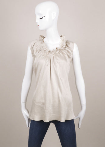 Albino Taupe Ruffle Neck Sleeveless Top Frontview