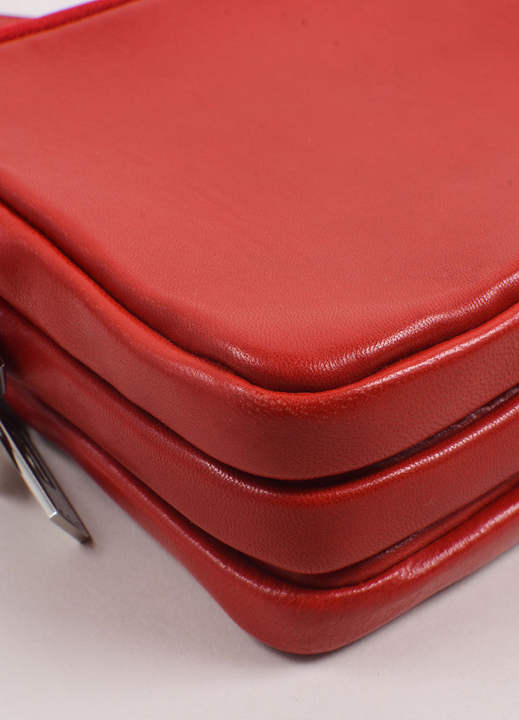 A.L.C. Red Leather Three Zip Pouch Cross Body Bag Detail