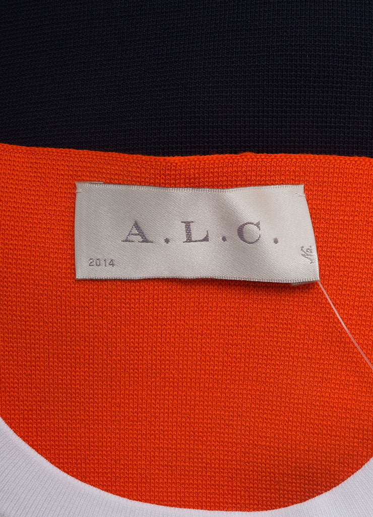 A.L.C. New With Tags White, Navy, and Orange Knit Color Block Bodycon Dress Brand