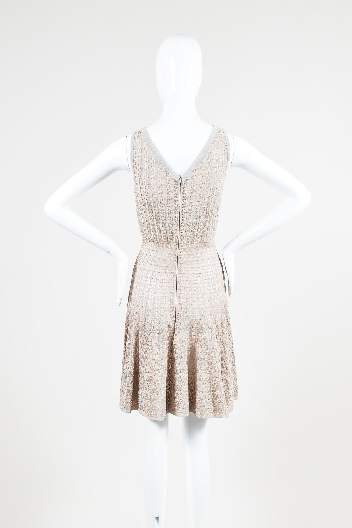 Beige and Silver Crochet Metallic Sheer V-Back Flared Sleeveless Dress Backview
