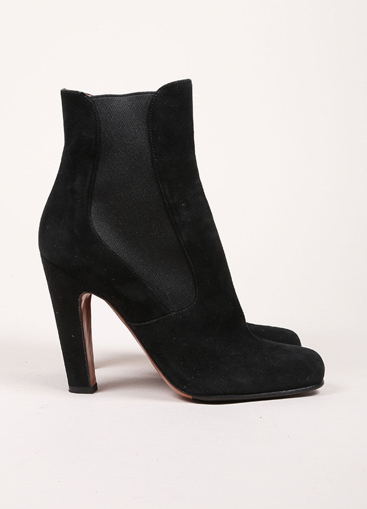 Alaia Black Suede Elastic Square Toe Ankle Boots Sideview