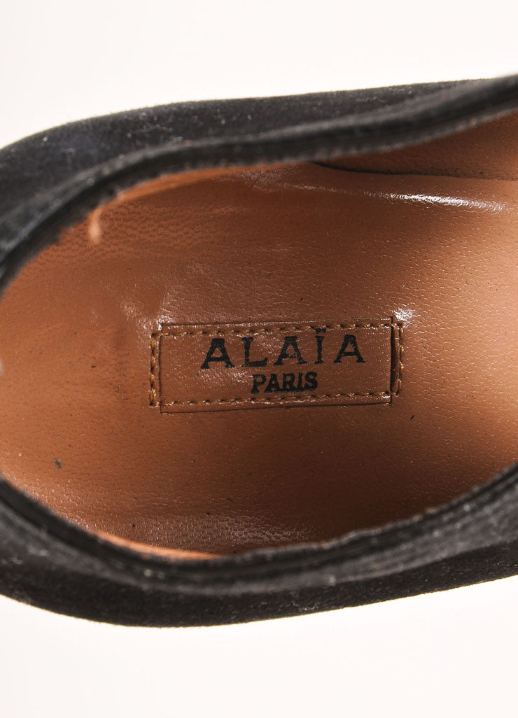 Alaia Black Suede Elastic Strap Chunky Heels Brand