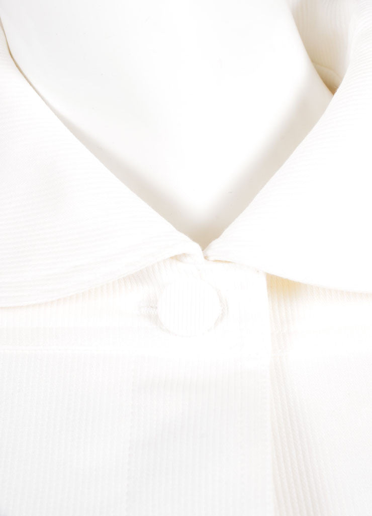Alaia White Cotton Ribbed Wide Cropped Jacket Detail
