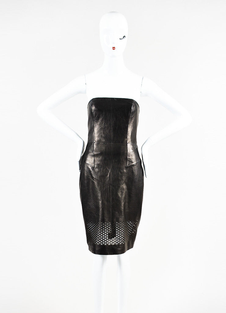 Alexander Wang Black Leather Laser Cut Strapless Sheath Dress Frontview