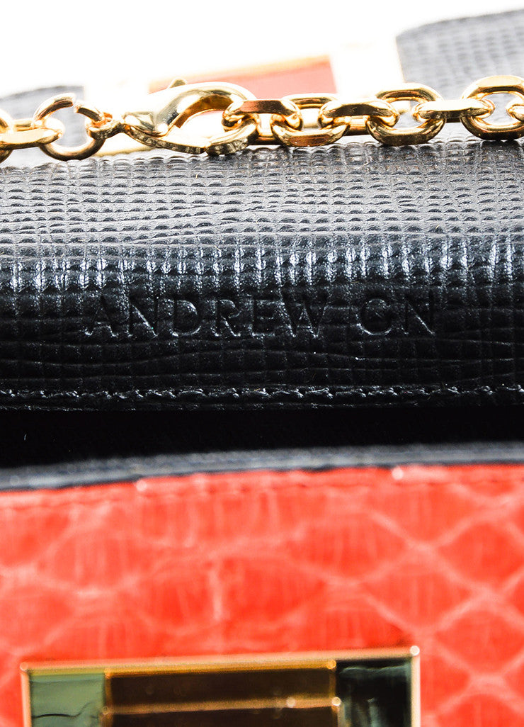 "Coral, Black, and Green Andrew Gn ""Chryscolla"" Python Leather Bag Brand"