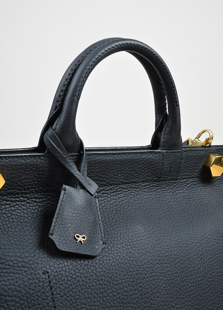 "Black Leather  Anya Hindmarch ""Ephson"" Top Handle Satchel Bag Detail 2"