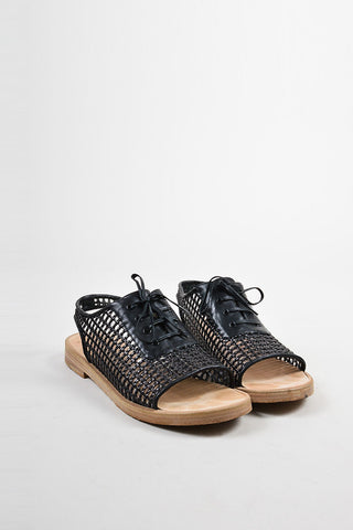 Black Balenciaga Woven Leather Lace Up Flat Sandals Frontview