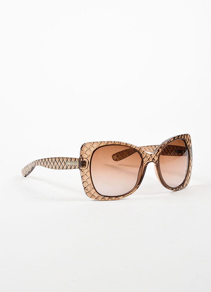 "Bottega Veneta Taupe Transparent Quilted ""Butterfly"" Sunglasses Sideview"