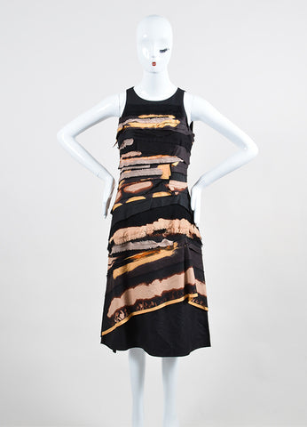 Black and Multicolor Bottega Veneta Frayed Tier Sleeveless Dress Frontview