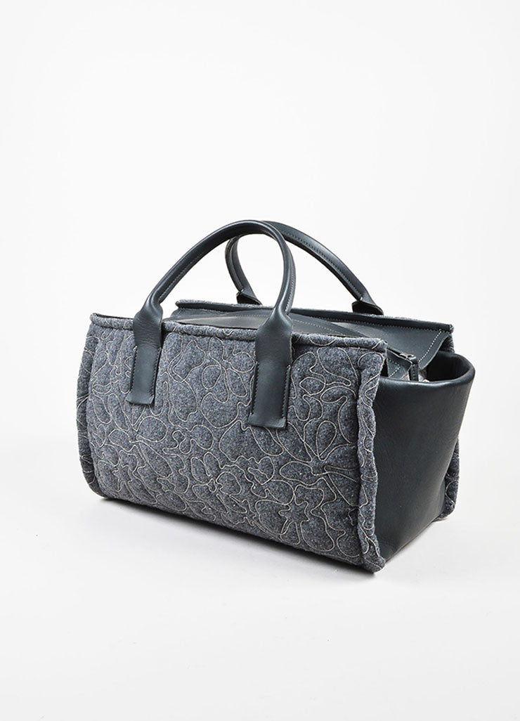 Brunello Cucinelli Grey Cashmere and Leather Monili Bonded Flower East-West Tote Bag Sideview