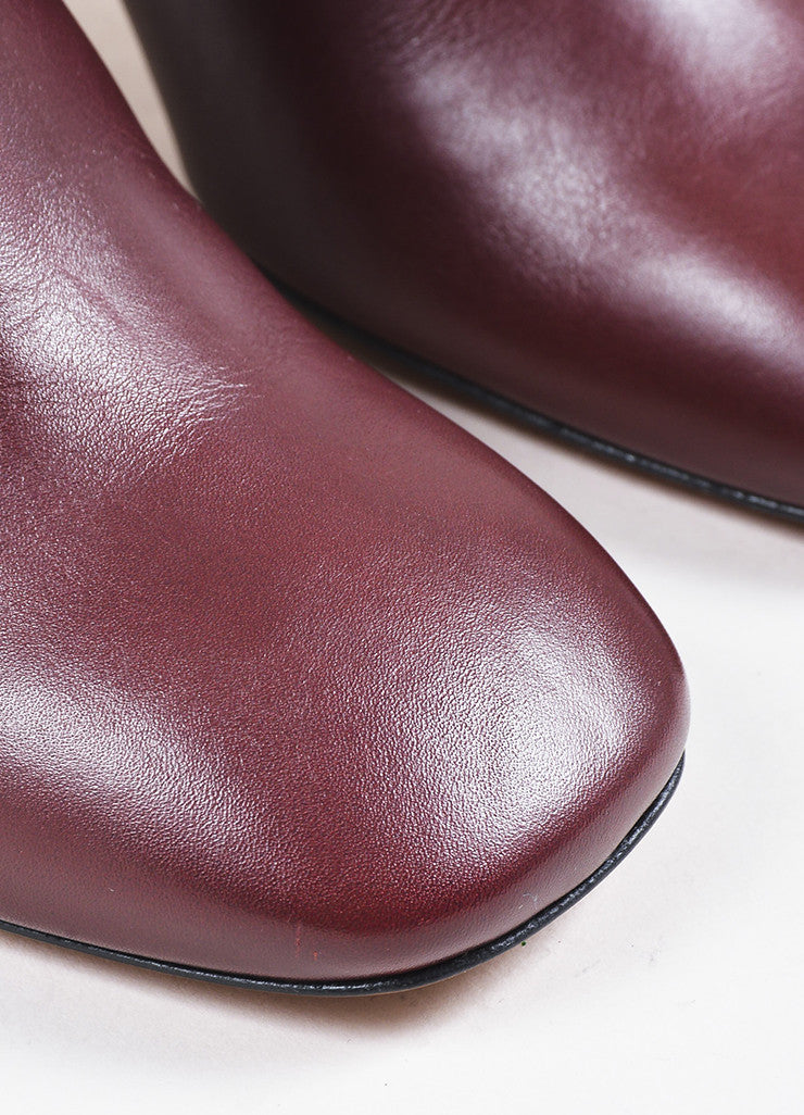 Celine Burgundy Leather Silver Toned Chunky Heel Ankle Boots Detail