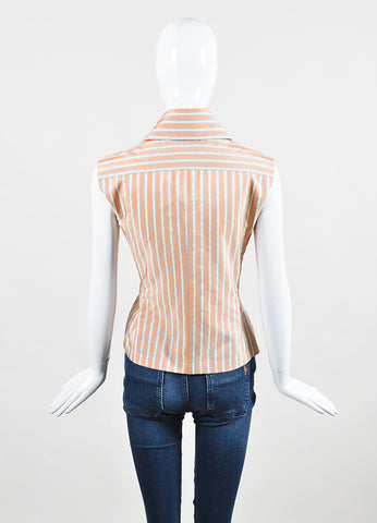 Chanel Orange, Blue, and Cream Silk Striped Double Breasted Sleeveless Blouse backview