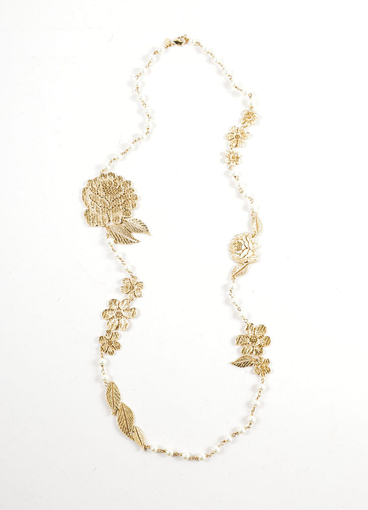 Gold Toned Chanel Cut Out Lace Flower Faux Pearl Beaded Chain Necklace Frontview