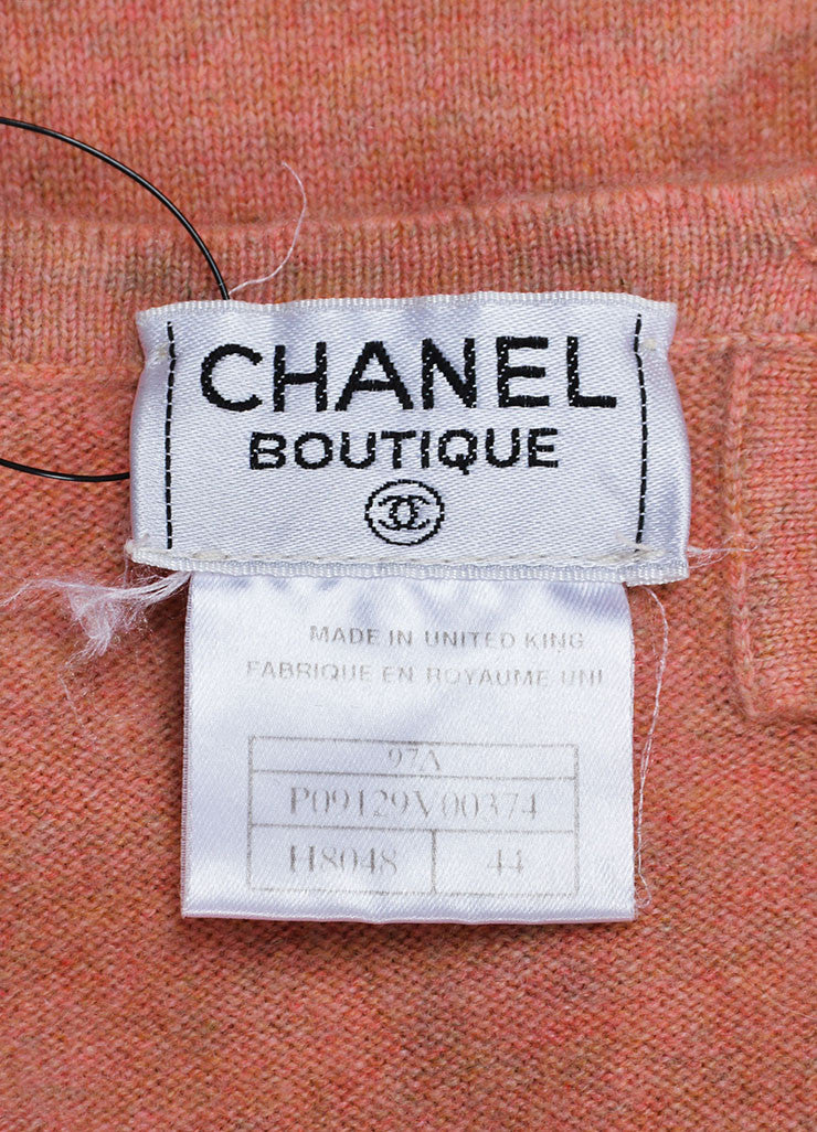 Salmon Pink Chanel Cashmere Sweater and Top Twin Set Brand