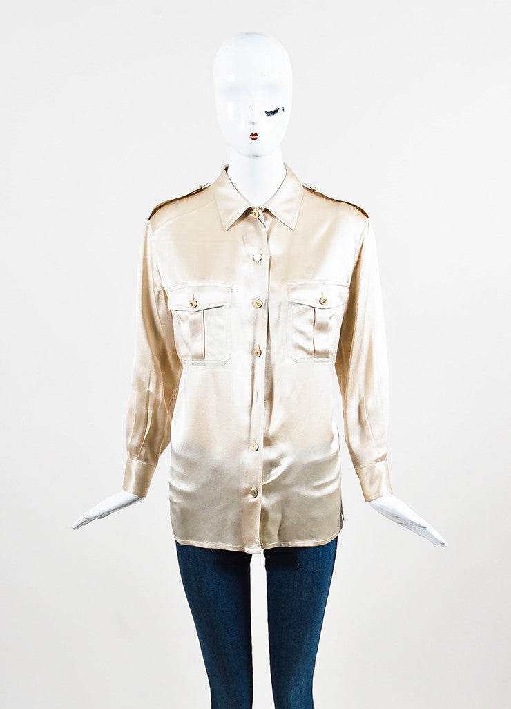 Chanel Beige Silk Satin Gold Toned 'CC' Button Chest Pocket Long Sleeve Blouse Top Frontview