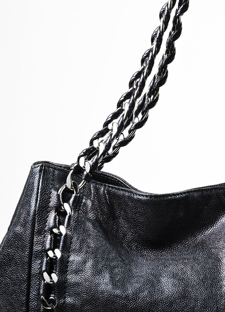 "Black Chanel Caviar Leather Luxe Ligne ""Modern Chain"" Tote Bag Detail 2"