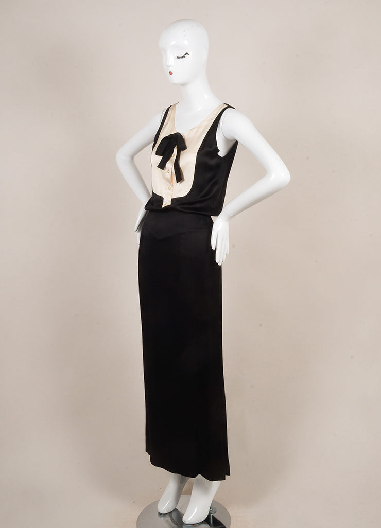 Chanel Black and Cream Rhinestone Button Tuxedo Style Open Back Sleeveless Gown Sideview