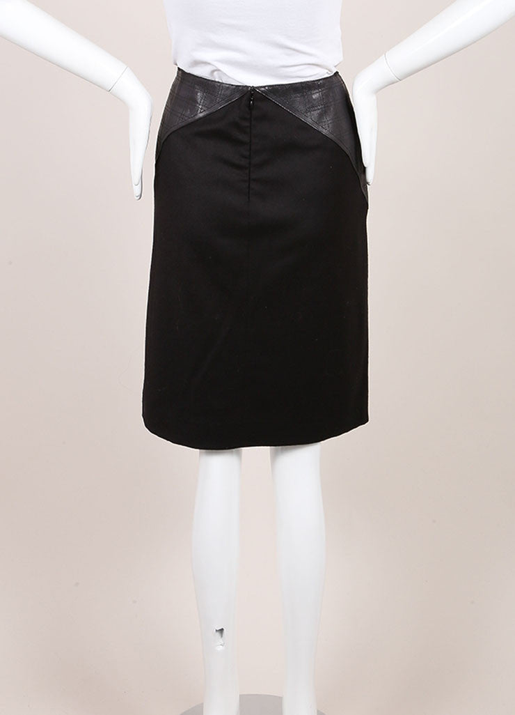 Chanel Black Stretch Wool and Cashmere Quilted Leather Trim Pencil Skirt Backview