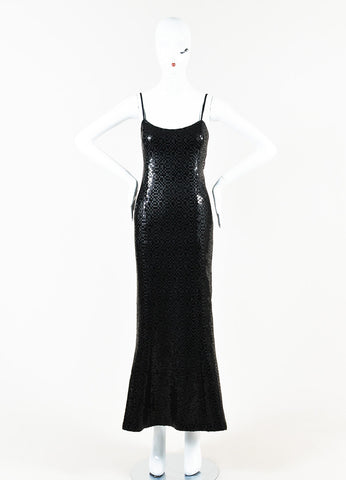 Chanel Black Wool Blend Long Sequin Embellished Split Evening Dress Frontview