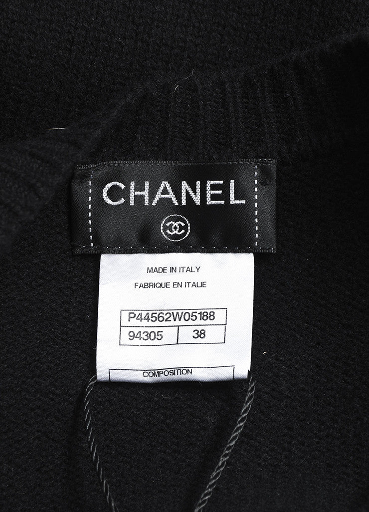 Chanel Black Wool and Lambskin Trim Gradient Blend 'CC' Patch Sweater Jacket Brand