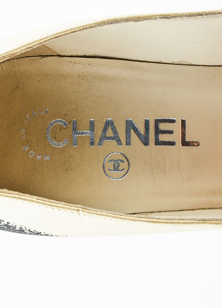 Chanel Cream, Black, and Blue Leather Textured Heel and Platform Pumps Brand