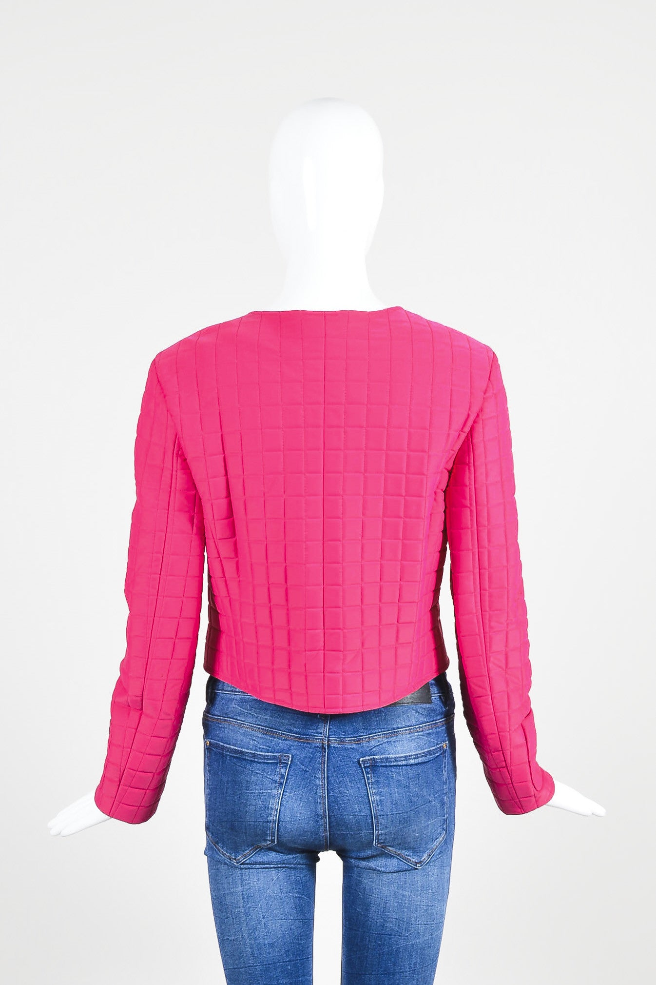 Hot Pink Chanel Padded Nylon Quilted Jacket Backview
