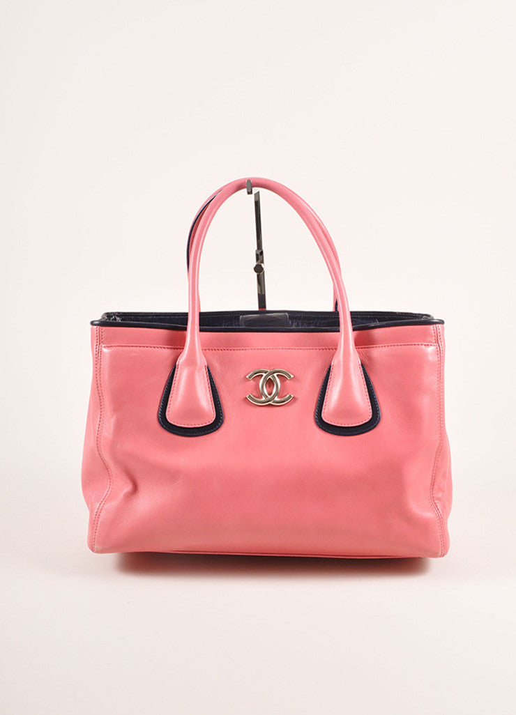 "Chanel Pink and Navy Leather ""CC"" Logo Tote Bag Frontview"
