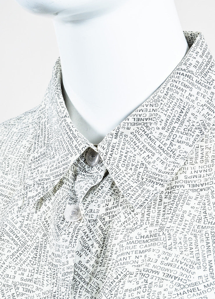 Chanel White and Black Word Print Pointed Collar Cap Sleeve Button Blouse Top Detail