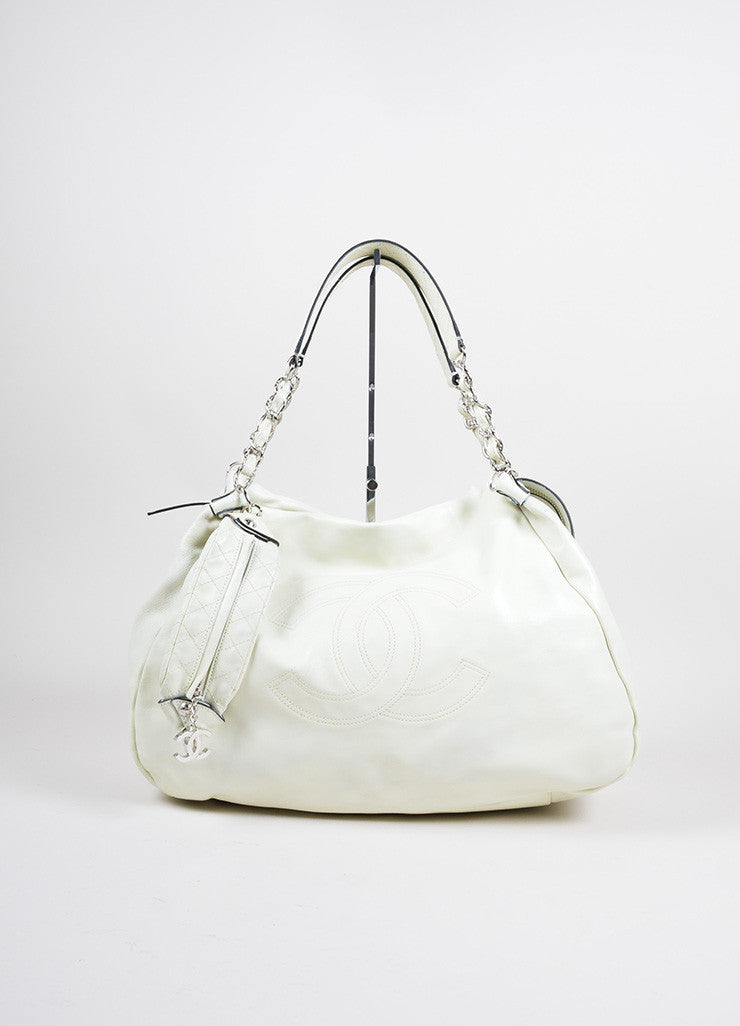 "Chanel White Caviar Leather ""CC"" Embroidered Oversized Hobo Bag Frontview"
