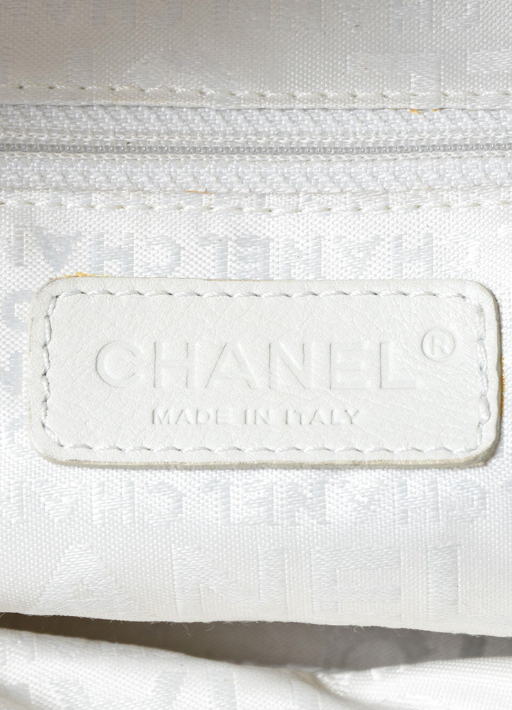 "White Pebbled Leather Quilted Chanel ""CC"" Zip Satchel Bag Brand"