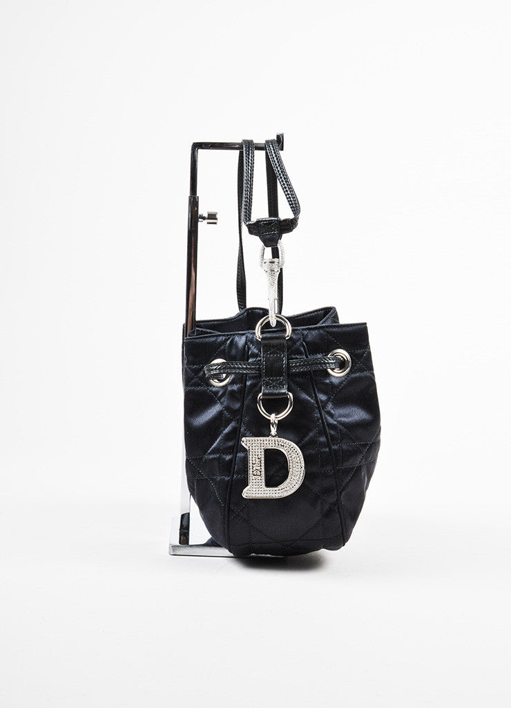 "Black Christian Dior Satin and Leather Quilted ""Cannage Evening"" Bucket Bag Sideview"