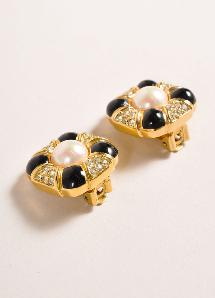 Christian Dior Gold Toned and Black Rhinestone Faux Pearl Clip On Earrings Sideview