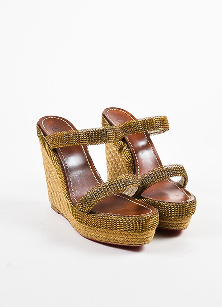 Christian Louboutin Beige and Gold Toned Chainmaille Espadrille Cadena Sandals Frontview