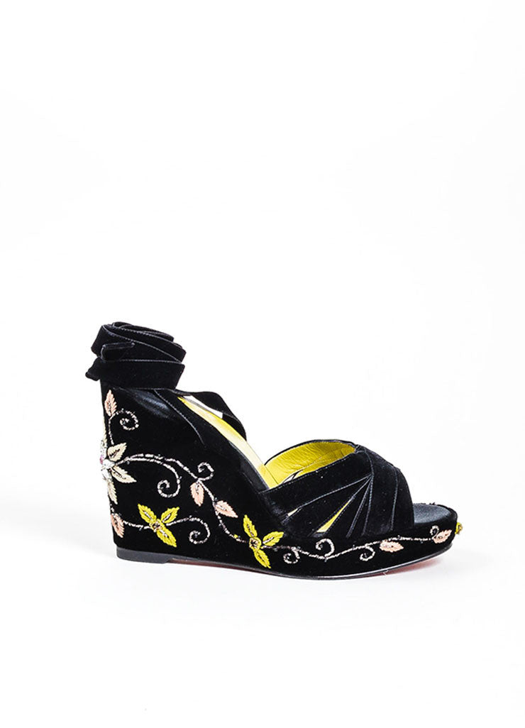 Christian Louboutin Black Velvet Jeweled Flower Ankle Wrap Wedge Sandals Sideview