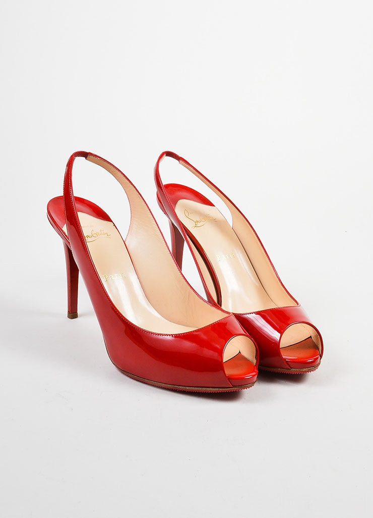 "Red Christian Louboutin Patent Peep Toe ""Lady Sling 100"" Pumps Frontview"