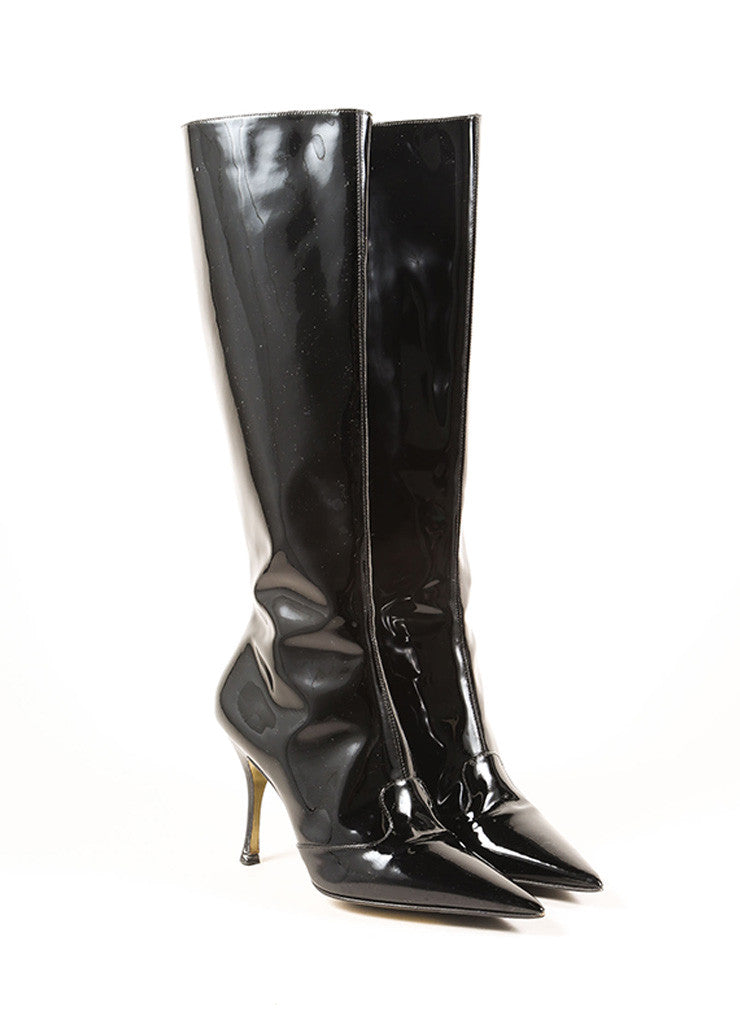 Dolce & Gabbana Black Patent Leather Pointed Toe Stiletto Knee High Boots Frontview