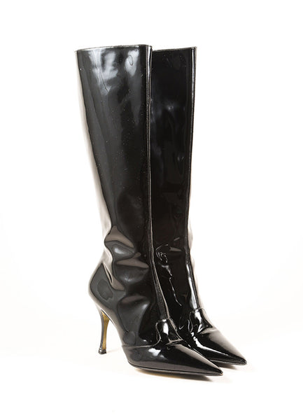 Dolce Amp Gabbana Black Patent Leather Stiletto Boots