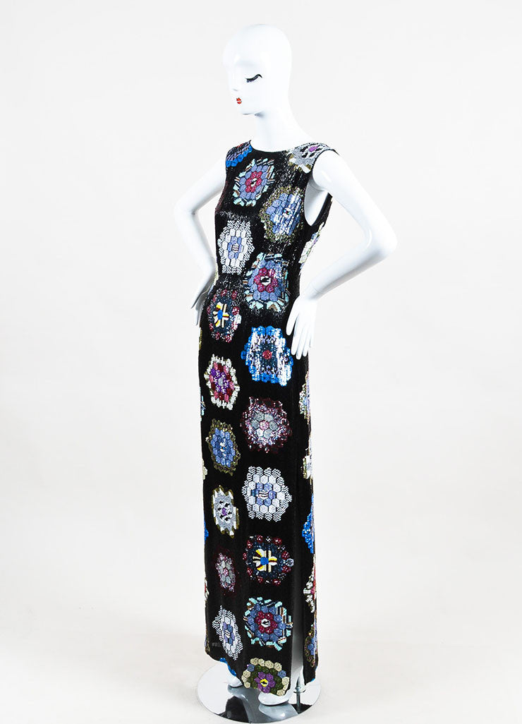 Escada Black Multicolor Silk Sequin Beaded Sleeveless Evening Gown Sideview