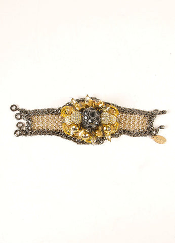 Falconiere New Black and Gold Toned Rhinestone Mesh Flower Bomb Bracelet Frontview