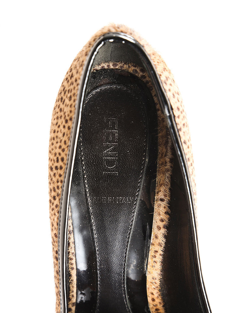 "Fendi Black and Brown Spotted Print Pony Hair Peep Toe ""FF"" Pumps Brand"