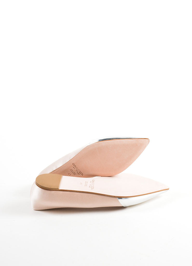 Giambattista Valli Beige Satin and Silver Pointed Cap Toe Flats Outsoles