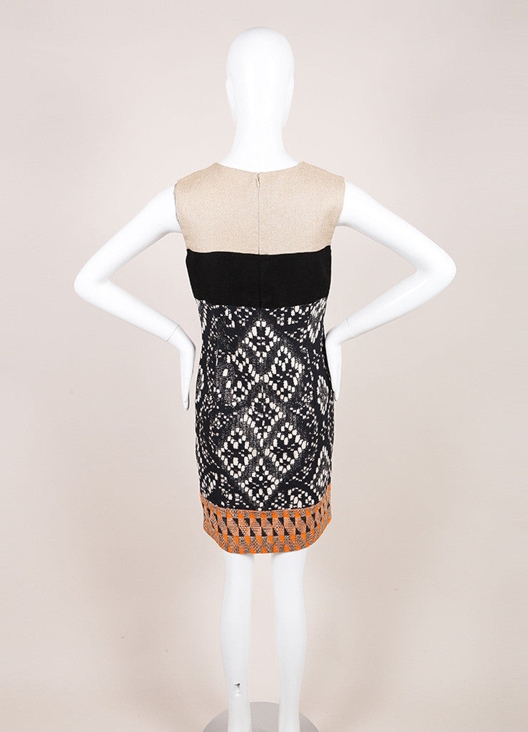 Giambattista Valli Tan, Black, and Orange Woven Sleeveless Dress Backview
